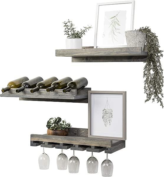 Del Hutson Designs Rustic Handmade Wooden Wall Mounted Three Tiered Wine Rack 24 Grey