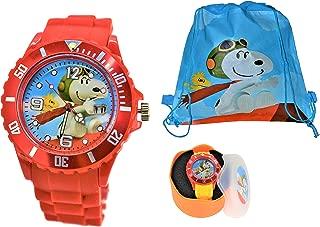 Peanuts Snoopy & Woodstock Flying Ace Modern Analog Date Wrist Watch for Women Men Children. Large Watch Dial.