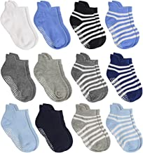 Aminson Anti Slip Non Skid Ankle Socks With Grips for Baby Toddler Kids Boys Girls