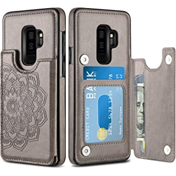 HianDier Wallet Case for Galaxy S9 Plus, Slim Protective Case with Credit Card Slot Holder Flip Folio Soft PU Leather Magnetic Closure Cover Case Compatible with Samsung Galaxy S9+ Plus, Mandala Gray