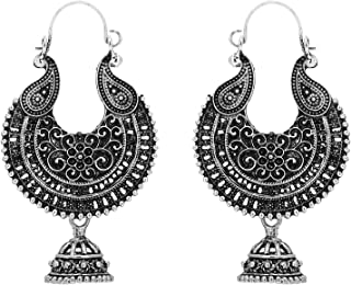 Jwellmart Ethnic Collection Oxidized Indian Chand Bali Jhumka Earrings for Women and Girls