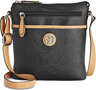 Details about  /Giani Bernini Embossed Logo Leather Crossbody Bag