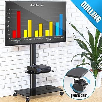 FITUEYES Soporte Móvil de TV de 32 a 65 Pulgadas con 2 Estantes Soporte Giratorio de Suelo para TV LCD LED OLED Plasma Plano Curvo TT206503GB: Amazon.es: Electrónica