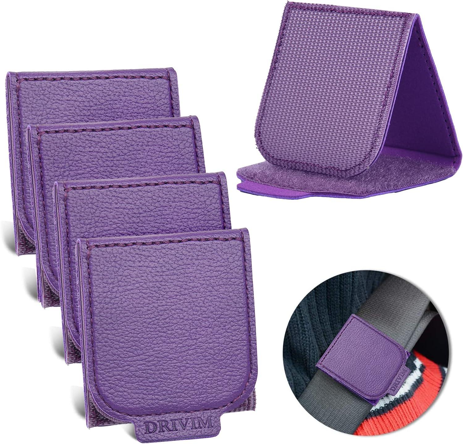 Car Seat Belt Adjuster, 4 Pack Premium PU Leather Seatbelt Clip for Vehicle Automobile Safety Comfort Universal Shoulder Neck Strap Positioner for Adults Kids Children Toddler (Purple)