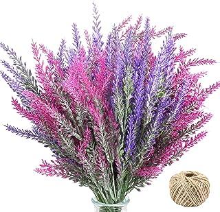 Omldggr 8 Pieces Artificial Lavender Flowers with Hemp Rope Artificial Lavender Bouquet Plastic Lavender Plants for Home P...