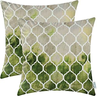 CaliTime Pack of 2 Cozy Throw Pillow Cases Covers for Couch Bed Sofa Farmhouse Manual Hand Painted Colorful Geometric Trellis Chain Print 18 X 18 Inches Main Grey Green Olive