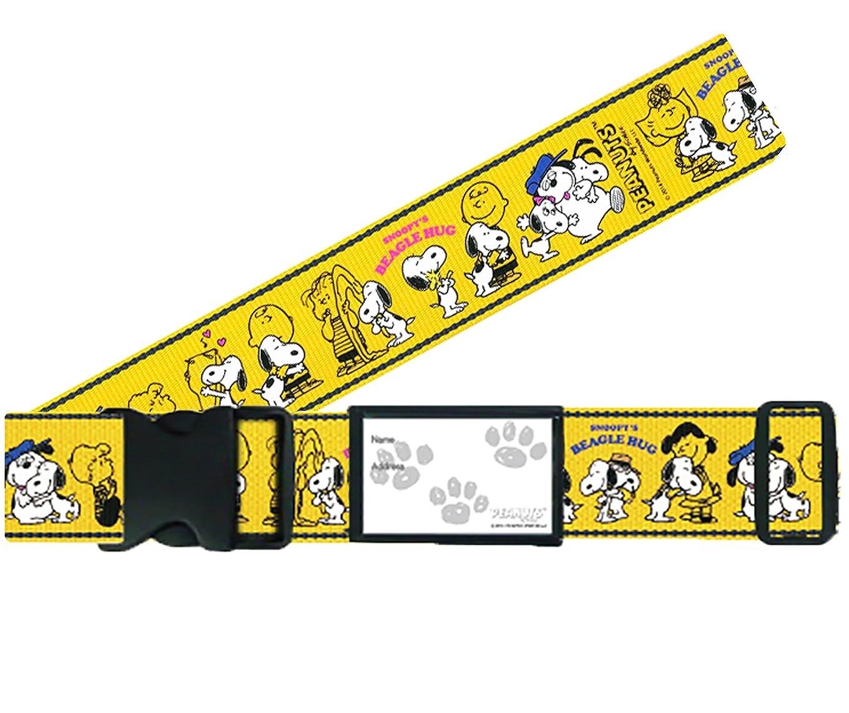 アルバニー休日振動させる日本製 かわいい ワンタッチ スーツケースベルト スヌーピー ハグイエロー