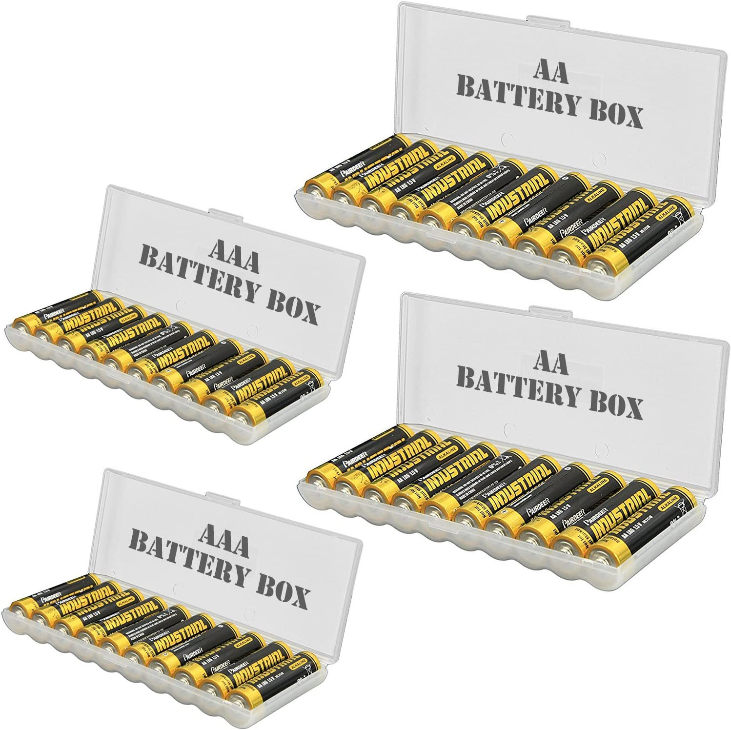 4pcs Battery storage organizer case, Batteries Storage box holds 20pcs AAA batteries and 20pcs AA batteries (battery not included)