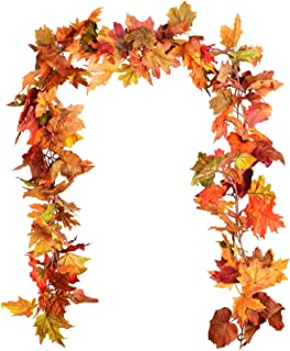 DearHouse 2 Pack Fall Garland Maple Leaf, 5.9Ft/Piece Hanging Vine Garland Artificial..