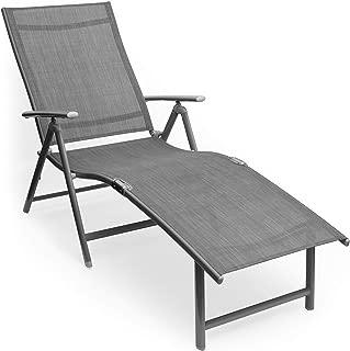 Kozyard Cozy Aluminum Beach Yard Pool Folding Reclining Adjustable Chaise Lounge Chair (1, Gray)