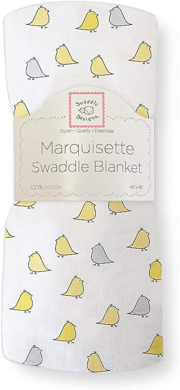 SwaddleDesigns Marquisette Swaddling Blanket Premium Cotton Muslin Yellow Jewel Tone Little Chickies