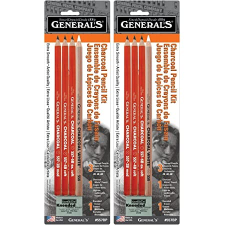 12-Piece Pack of 2 General Pencil Charcoal Kit