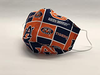 Designer Auburn Tigers Face Mask - Orange, Unisex 100% Handmade, 100% Cotton, 100% Made in the U.S.A, Filter pocket, adjustable nose wire, washable and reusable face cover for dust protection