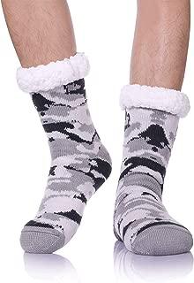 Mens Fuzzy Slipper Socks Soft Warm Fleece Lined Non Slip Winter Socks