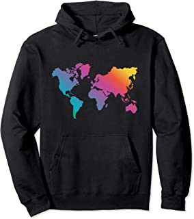 World Map Travel Countries Geography Color Painting Art Pullover Hoodie