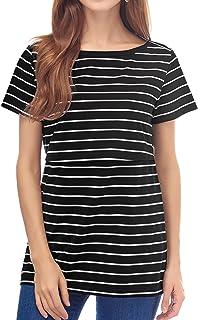 Smallshow Camiseta de Verano de Manga Corta a Rayas para Lactancia Materna Camiseta de Lactancia para Mujer