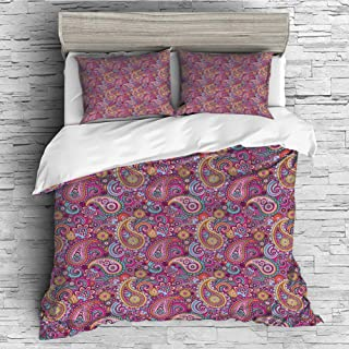 Cotton Duvet Cover 4 Pcs Comforter Cover Set Breathable and Skin-Friendly Bedding Set(queen size)Paisley Decor,Classic Asian Motifs with Flowers like Sun Leafs and Ornamental Shapes,Multi Colored