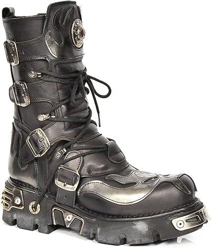 New Rock Bottes en Cuir Cuir à Lacets gris Flamme Design Chaussures Gothique Style Rétro Noir  en ligne
