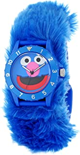 Sesame Street Kids' SW4930GR Grover Blue Furry Slap Watch