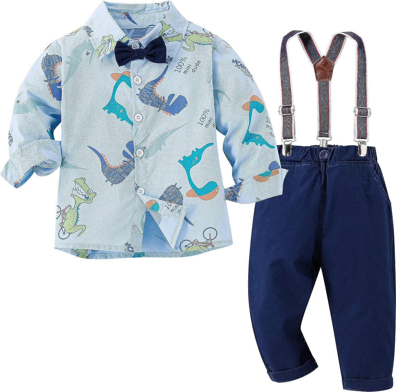 Baby Boy Clothes Set dress shirt Shirt+Bowtie+Suspender Pants Set 4PCS Toddler Boy Gentleman Outfies Suit Set