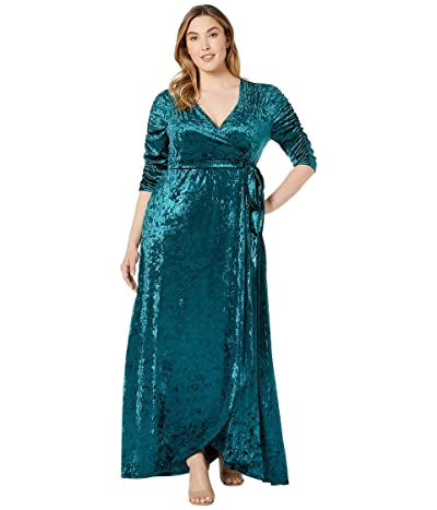 Kiyonna Cara Velvet Wrap Dress (Peacock Teal) Women