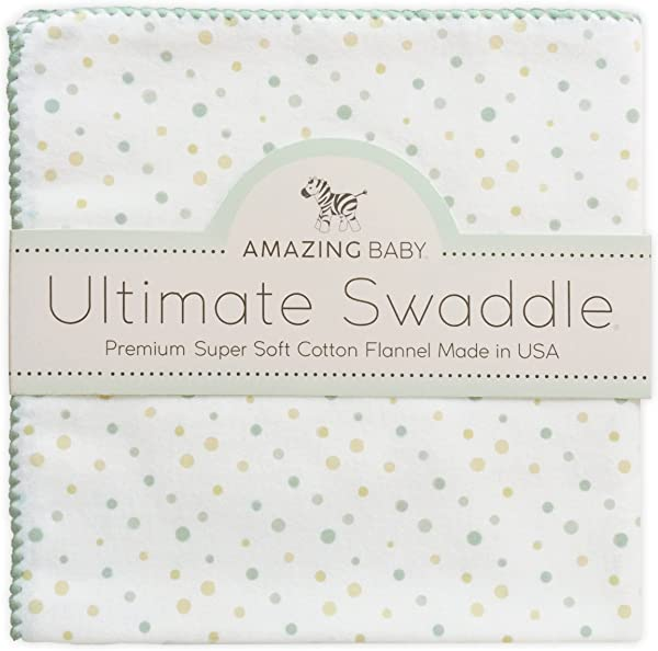 Amazing Baby Ultimate Swaddle X Large Receiving Blanket Made In USA Premium Cotton Flannel Playful Dots Multi SeaCrystal Mom S Choice Award Winner