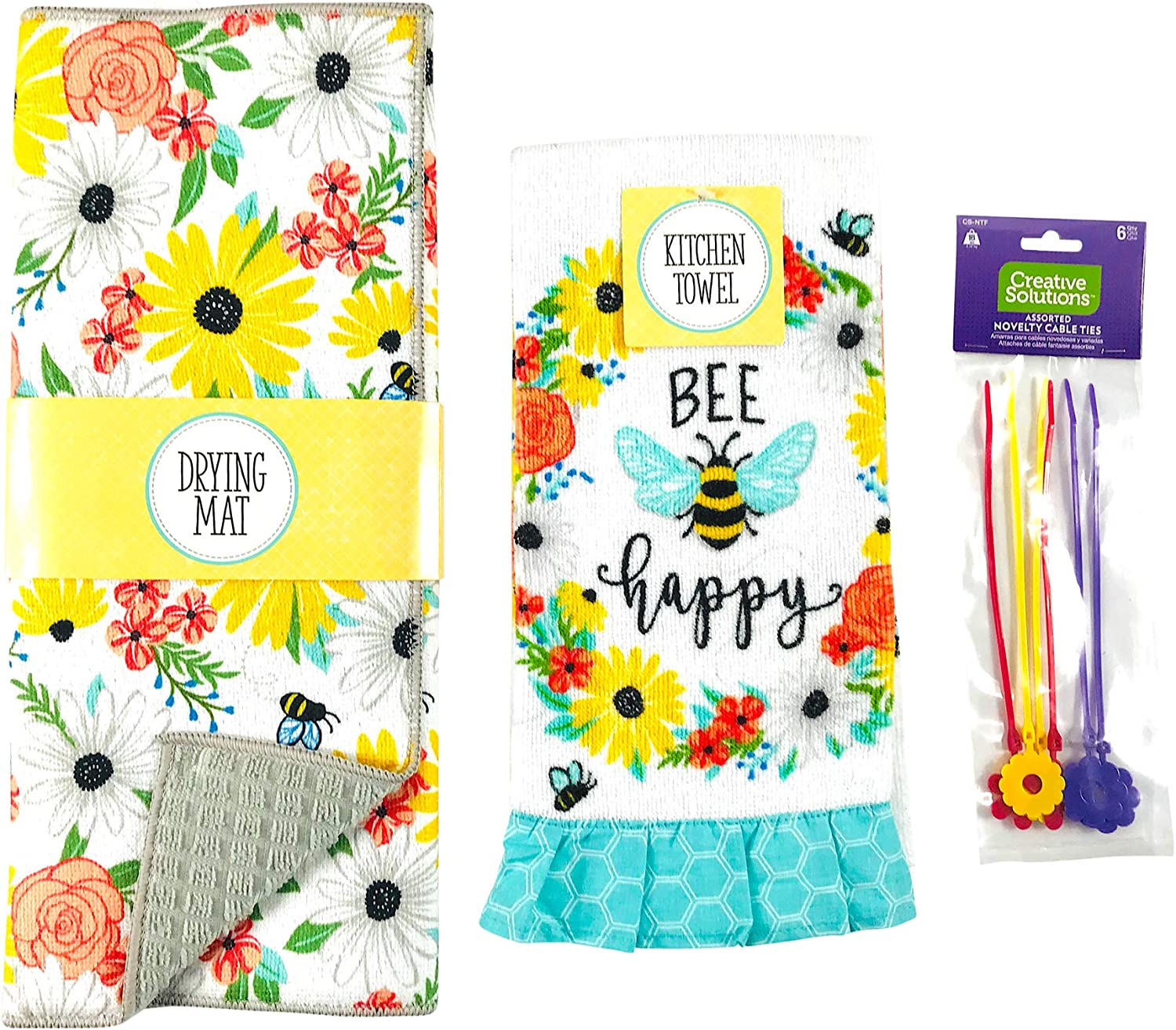 Max Weekly update 49% OFF Spring Flower Honey Bee Dish Drying Mat Set: 1 Reversibl Counter