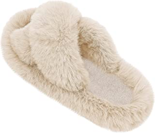 Women's Fuzzy Slippers Cross Band House Slipper Fluffy Plush Open Toe House Sandals with Furry Slides Indoor Outdoor