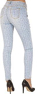 Women's Curvy Fit Blue Herringbone Printed Destroyed...