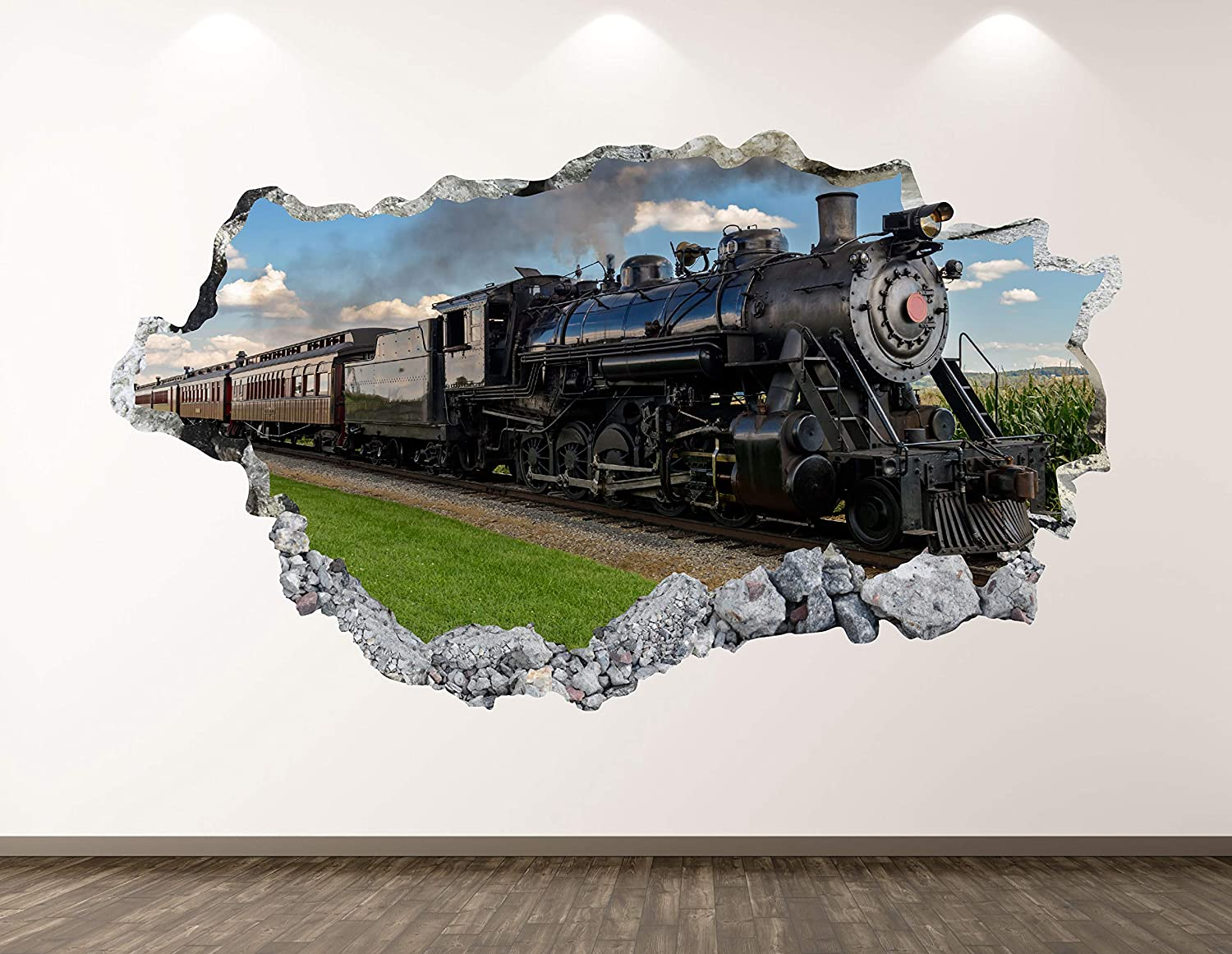 West Mountain Vintage Train Wall Decal Art Decor 3D Smashed Railway Sticker Mural Custom Gift BL118 (42