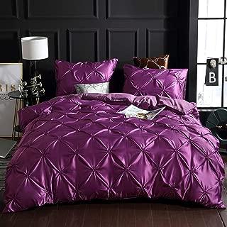 FGBAY Bedding 3 Piece Pinch Pleated Luxury Microfiber Pintuck Zipper Closure Comforter Set Soft 3Pcs Duvet Cover Set(1 Duvet Cover + 2 Pillow Shams)(Queen,Purple)