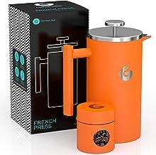 Kaffebryggare med vakuumisolerad fransk press – med miniförvaringsbehållare – av Coffee Gator – 1 liter 1L Orange