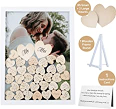 GLM Wedding Guest Book Alternative Drop Top Frame with Display Stand, 85 Wooden Hearts, 2 Large Hearts, and Sign Alternative Guest Book Set Shadow Box for Wedding, Baby Shower, Anniversary, Funeral