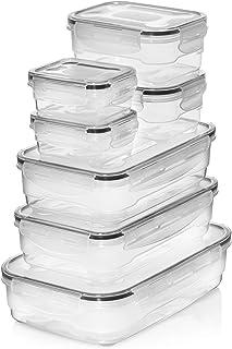 Homemaid Living Contenedores herméticos de plástico - Piezas con Tapa de Cierre fácil, Aptos para microondas y lavavajillas, contenedores de Alimentos Almacenamiento de Alimentos (7 Piezas)