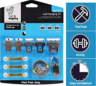 HIGH & MIGHTY 515312 Tool Free Picture Hanging Kit, 13 Pieces, up to 60LB Limit, Silver