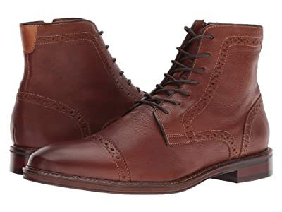 Johnston & Murphy Warner Cap Toe Zip Boot (Dark Tan Full Grain) Men