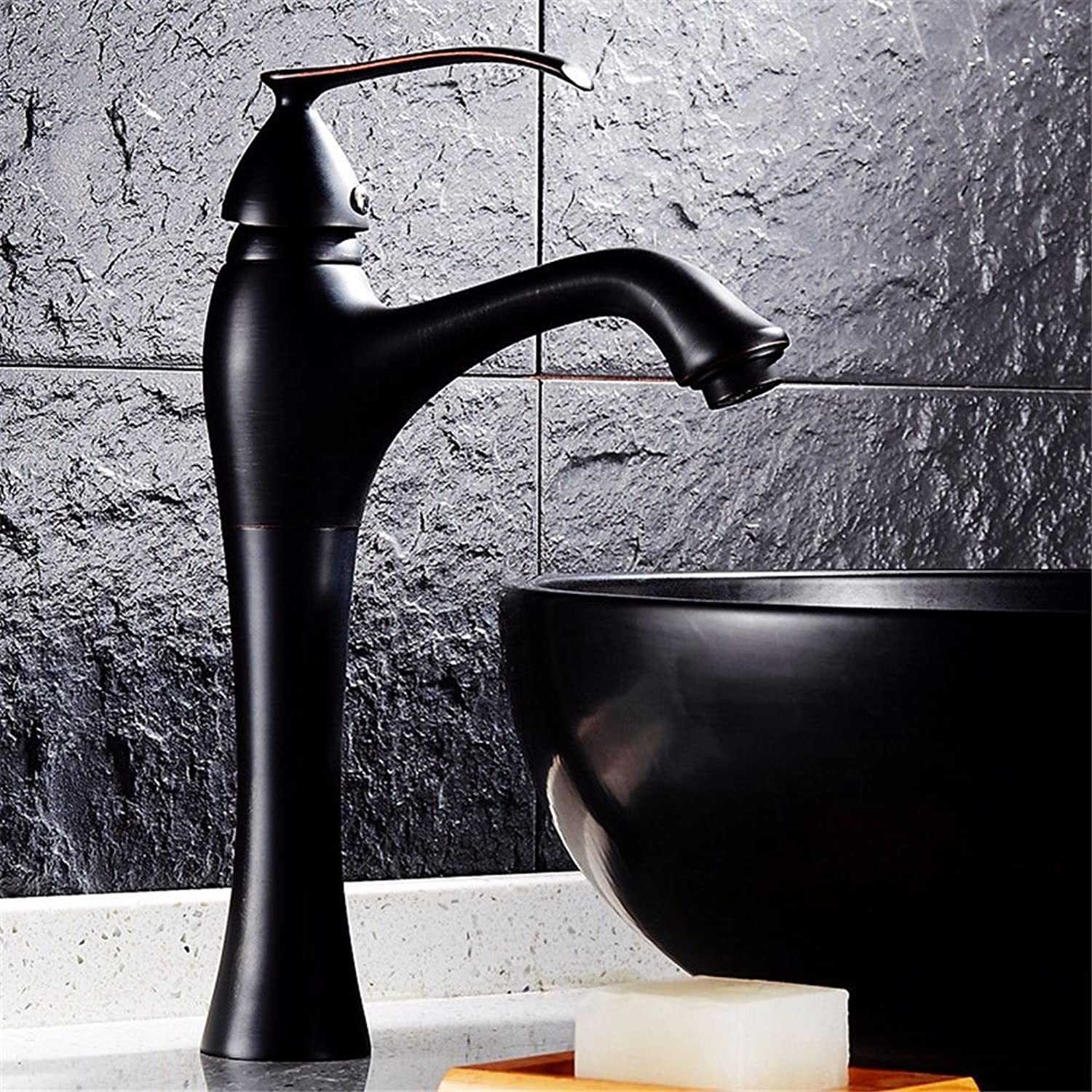 Lalaky Taps Faucet Kitchen Mixer Sink Waterfall Bathroom Mixer Basin Mixer Tap for Kitchen Bathroom and Washroom Antique Copper Black Hot and Cold Vintage