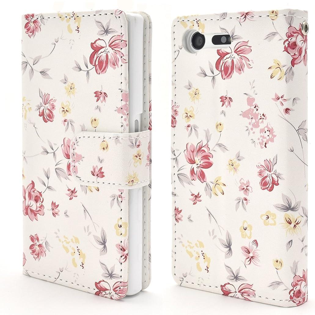 マザーランドペイント代表するPLATA Xperia X Compact SO-02J ケース 手帳型 花 フラワー 花柄 ストラップ ポーチ カバー 【 02 】