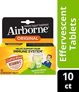 Airborne Vitamin C 1000mg Immune Support Supplement, Effervescent Formula, Lemon Lime, 10 Count (Packaging May Vary)