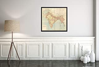 1915 India and Adjacent Countries Shows Area from Afghanistan in The west to Thailand in The East.|Historic Vintage Antique Wall Map|22