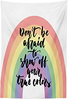 Lunarable Pride Tapestry, LGBT Calligraphy Don't Be Afraid to Show Off Your True Colors Message with Rainbow, Fabric Wall Hanging Decor for Bedroom Living Room Dorm, 30