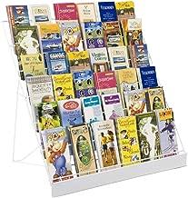 Displays2go Wire Countertop Literature Rack, 6-Tier Brochure Organizer, Open Shelf, White (WRC6T29WHT)