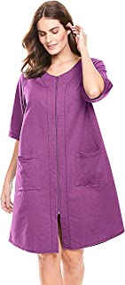 Women's Plus Size Short French Terry Zip-Front Robe