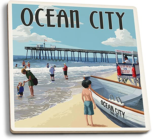 Lantern Press Ocean City New Jersey Lifeguard Stand Set Of 4 Ceramic Coasters Cork Backed Absorbent