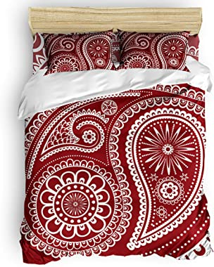 Red Vow 4 Piece Luxurious Comforter Duvet Cover for Bedroom,Classical Paisley Pattern Microfiber Deep Pocket Quilt Cover Sets
