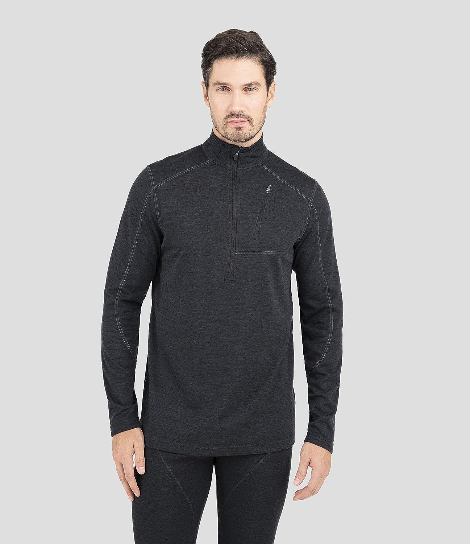 Terramar Men's Thermawool Merino Wool Half Zip Pullover Jacket, Smoke Heather