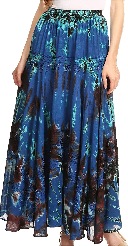 Sakkas Ester Womens Simple Boho Maxi Full Circle Tie-dye Skirt with Elastic Waist