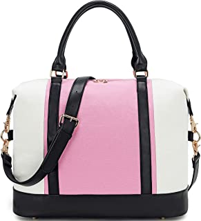 BLUBOON Women Weekender Bag Overnight Travel Carry-on Tote Duffle Bag for Rolling Luggage with Shoulder Strap (Pink-White)