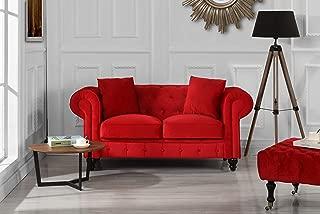 Divano Roma Furniture Classic Modern Scroll Arm Velvet Chesterfield Love Seat Sofa (Red)