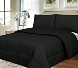 Sweet Home Collection Down Alternative Polyester Comforter Box Stitch Microfiber Bedding - Queen, Black